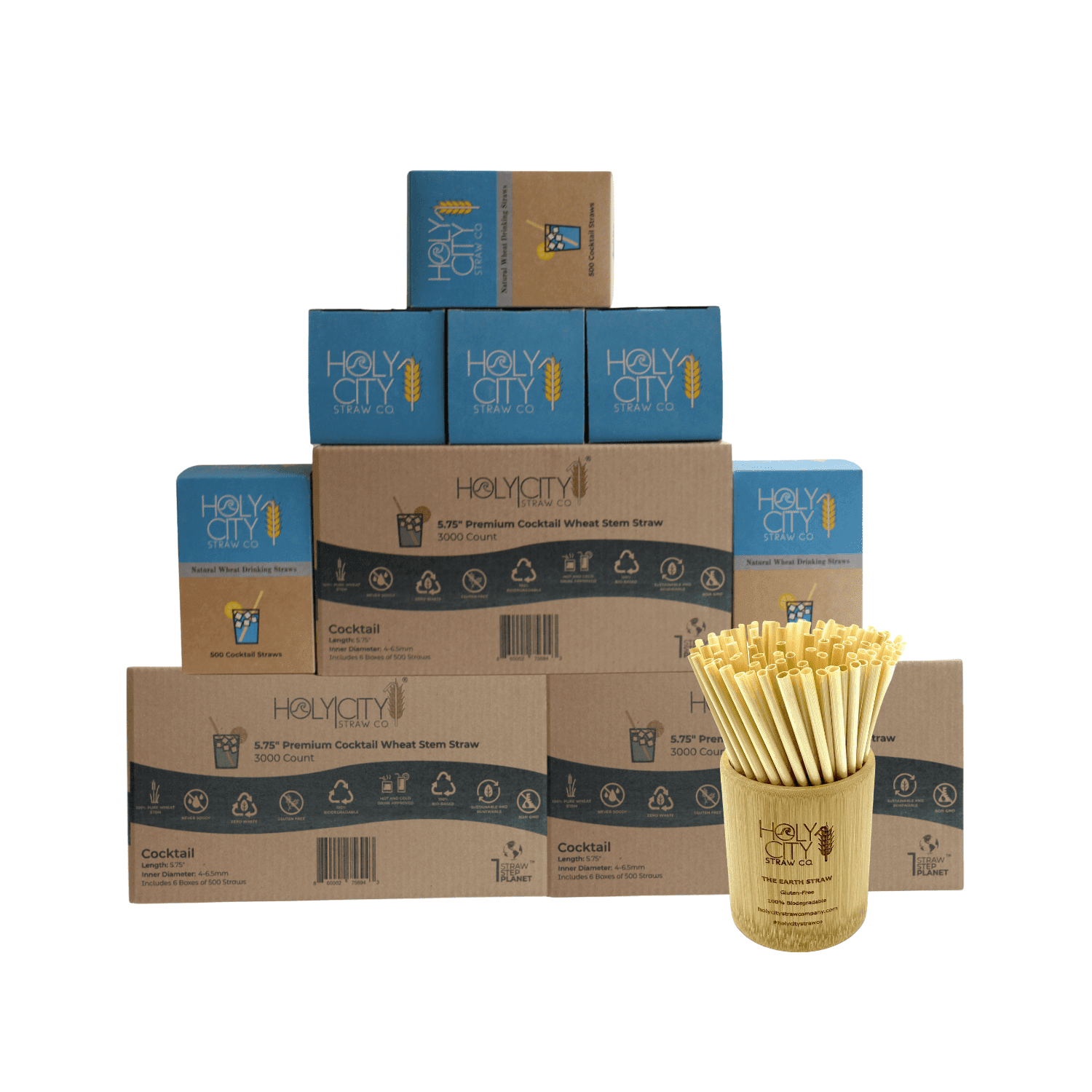 9000 count super case containing 18 boxes of 500 count boxes of Holy City Cocktail Wheat Straws