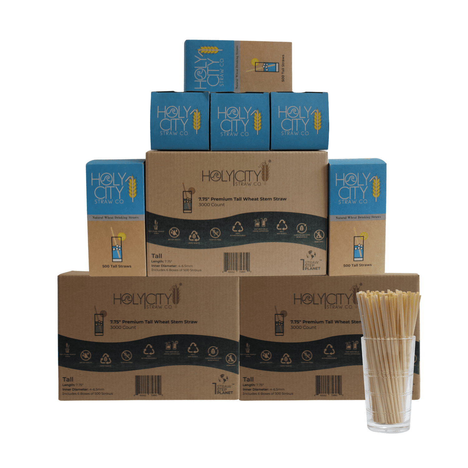 9000 count super case containing 18 boxes of 500 count boxes of Holy City Tall Wheat Straws
