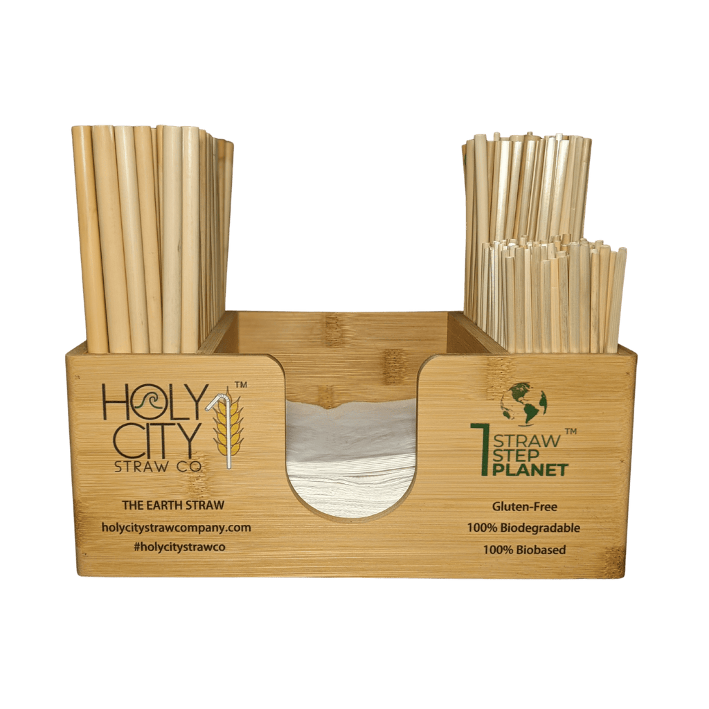 Holy City Straw Company branded bar caddy with straws front
