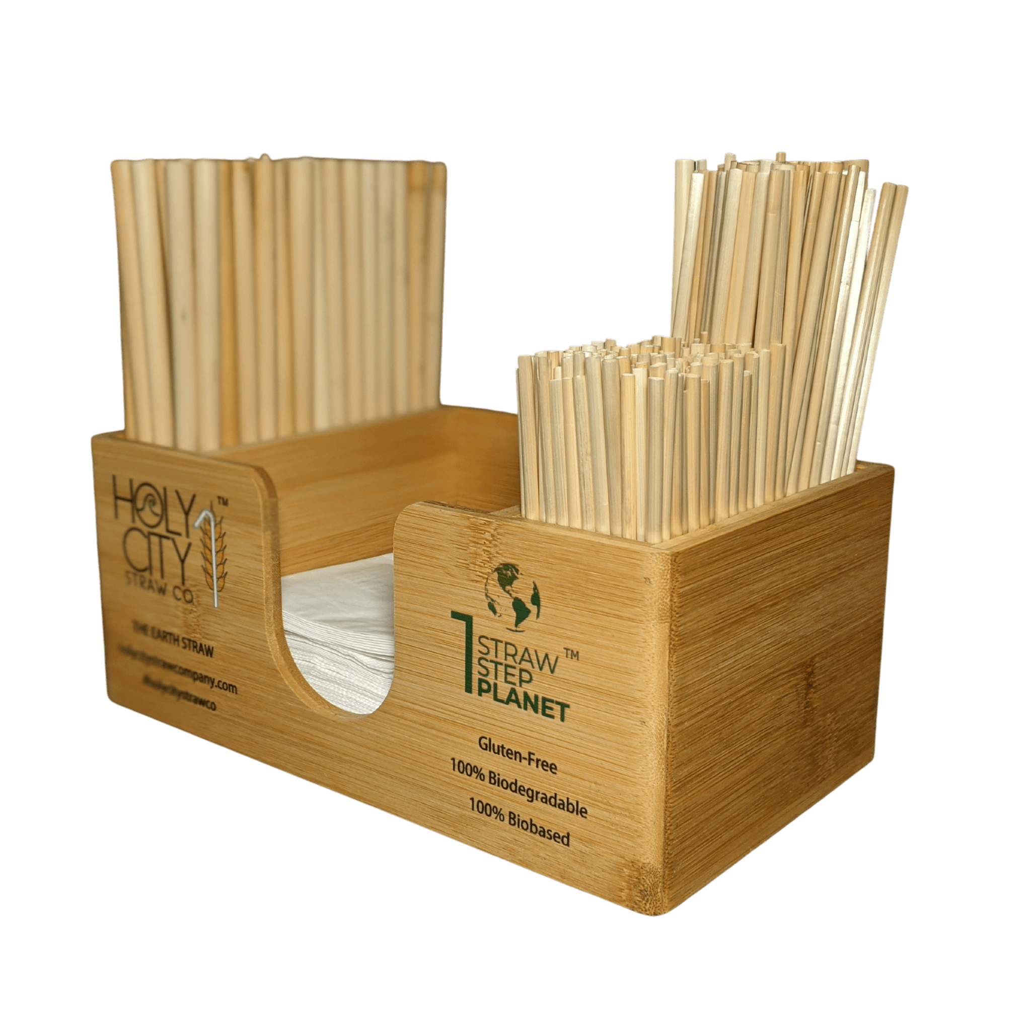 Holy City Straw Company branded straw and napkin bar caddy with straws right