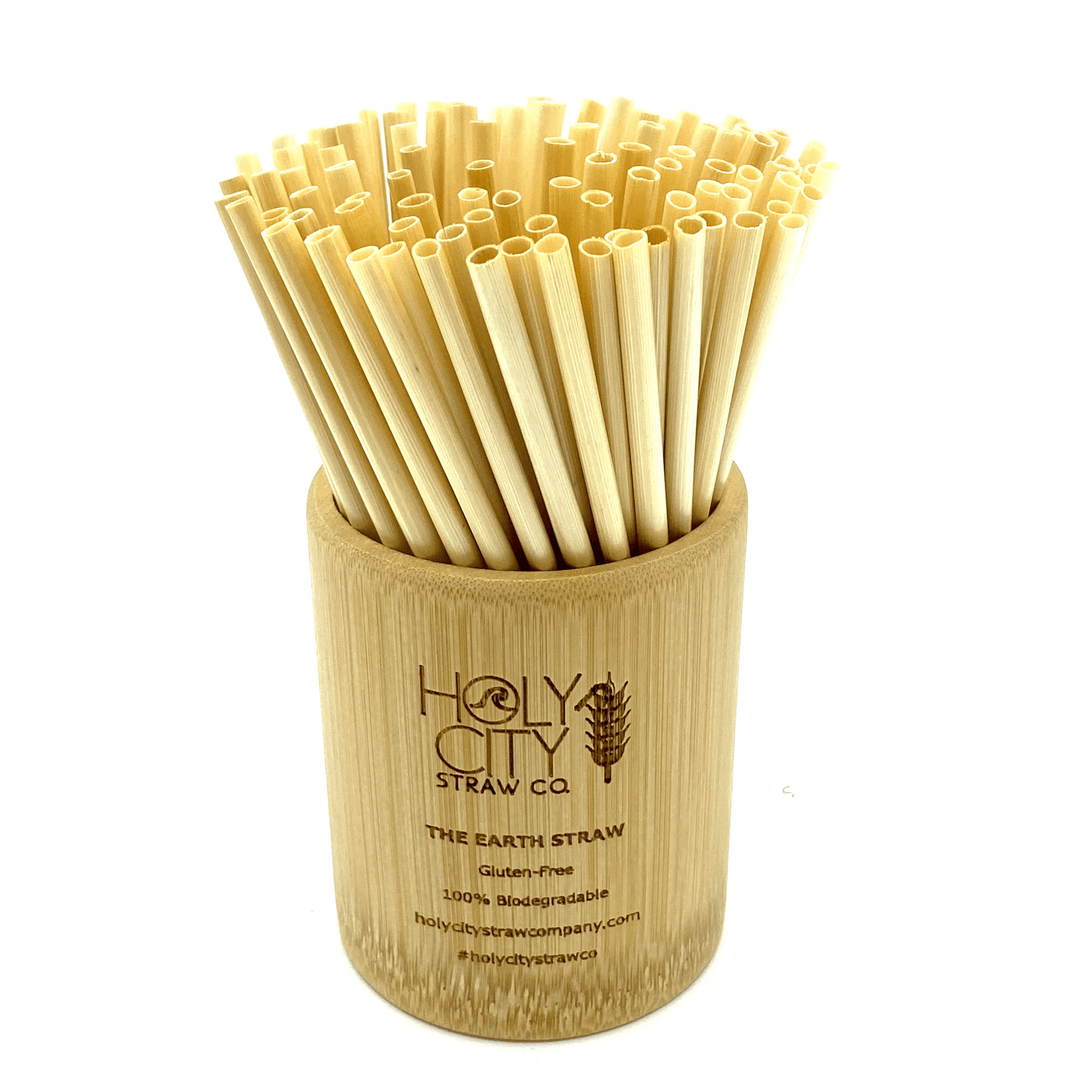 Holy City Straw Company Branded Straw Holder with Cocktail wheat stem straws inside of the cup