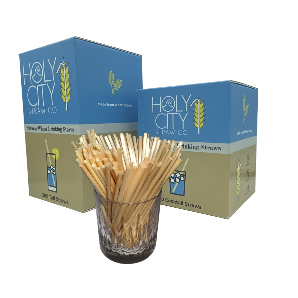 500 count box of Tall and Cocktail  Holy City Straw Company wheat straws next to a box open with a glass of straws.