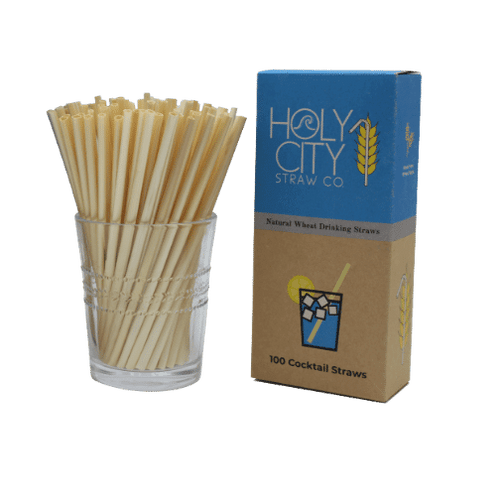 100 count Cocktail Holy City Straw Company Box of Wheat Stem Straws