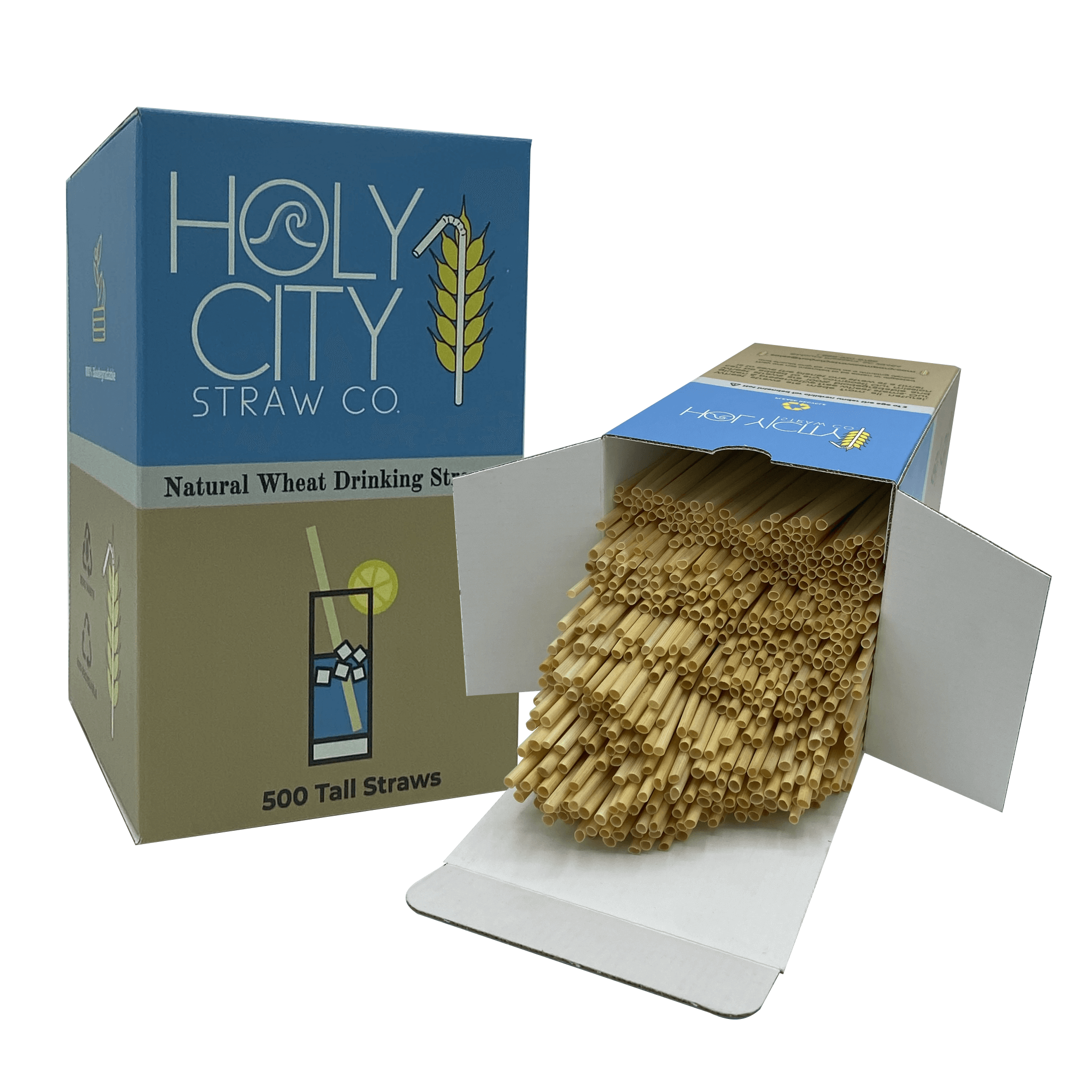 500 count box of Holy City Straw Company Tall wheat straws next to a box open with straws coming out.