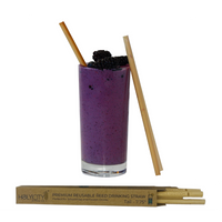Reusable Reed Sample of Holy City Straws alongside a Smoothie