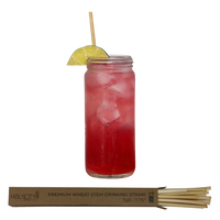 Tall Sample of Holy City Wheat Stem Straws alongside a Cocktail