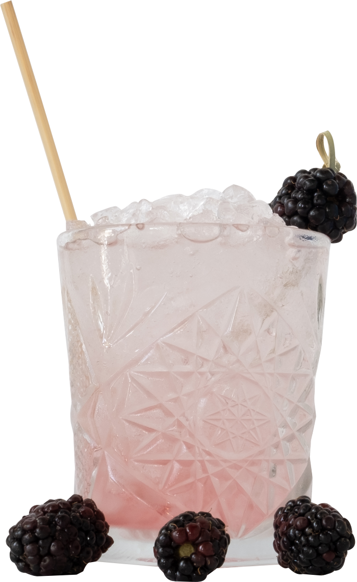 Pink Cocktail with Blackberries surrounding the glass with a Holy City Wheat Straw in it