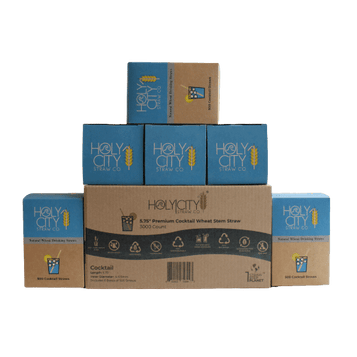 3000 count case of cocktail wheat straws made by Holy City Straw Company