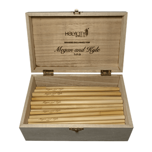 Open box of Holy City Straw Company Branded for Megan and Kyle Wedding