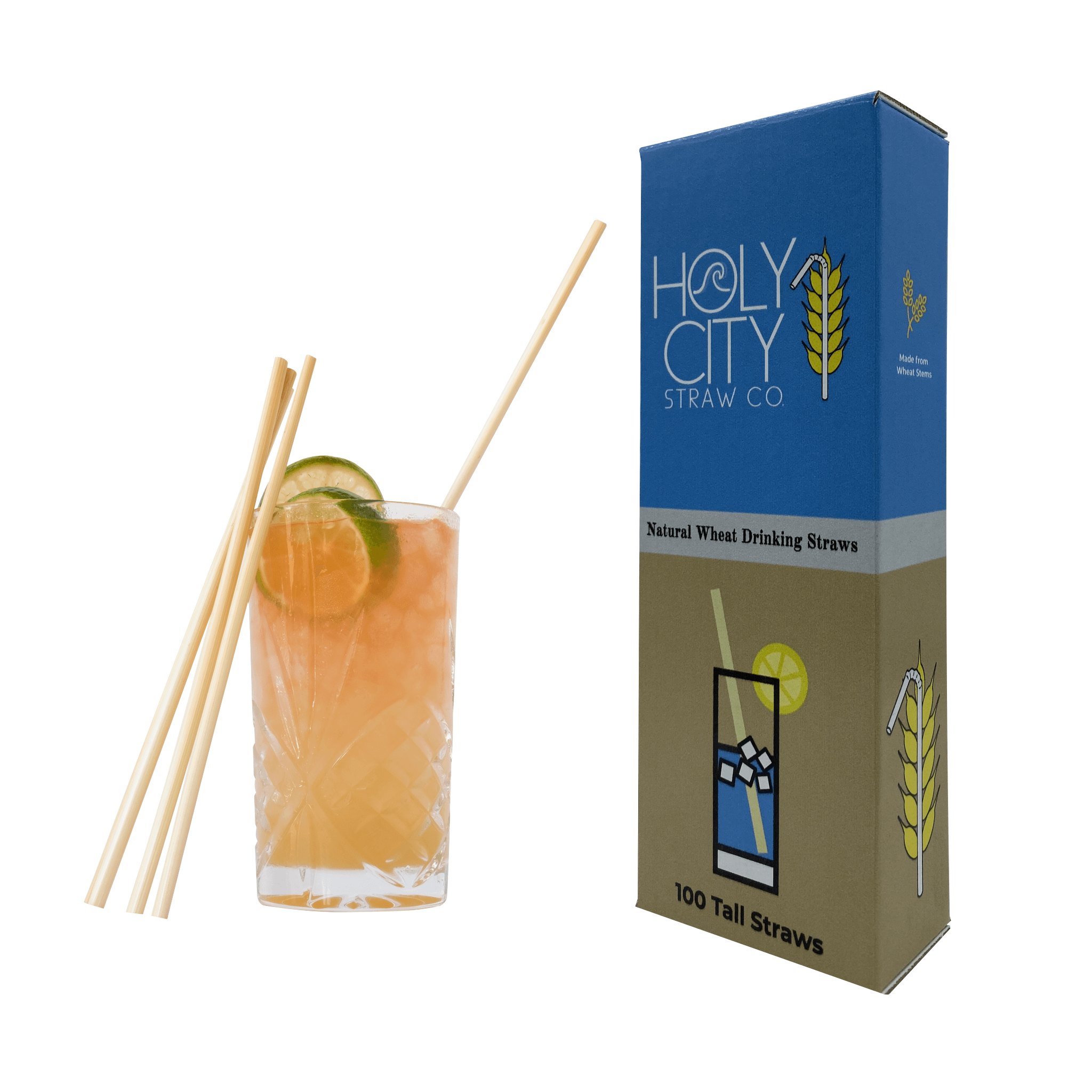 100 count box of Holy City Tall wheat straws next to a drink with a straw in it