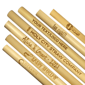 Several different branded reed straws engraved by holy city straw company