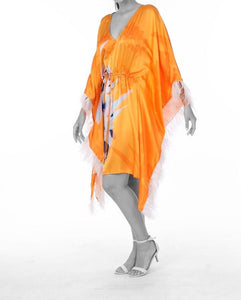 UPF 50+ Pure Silk - Psychedelic floral on Tangerine Kaftan