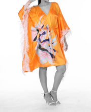 Load image into Gallery viewer, UPF 50+ Pure Silk - Psychedelic floral on Tangerine Kaftan