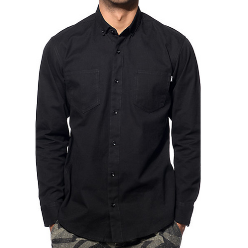 UPF 50+ Polyester - Patch Pocket Black Shirt
