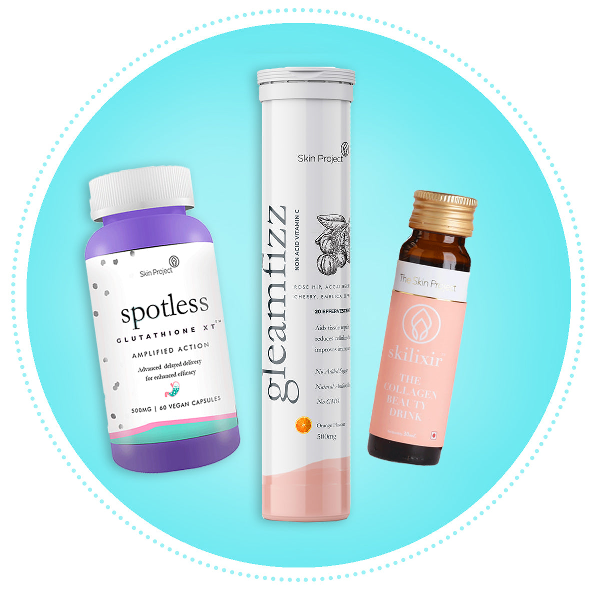 Skilixir, Glutathione and Gleamfizz 30 days Combo pack - Skin Project®