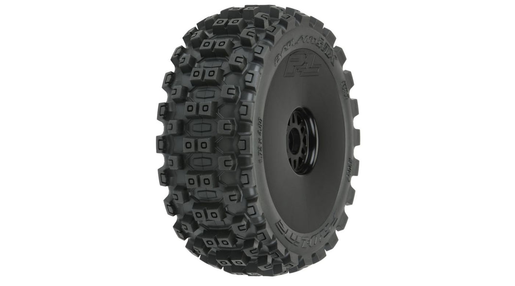 Badlands MX M2 Mounted Black Wheels, F/R (2): 1/8 Buggy (PRO906741)
