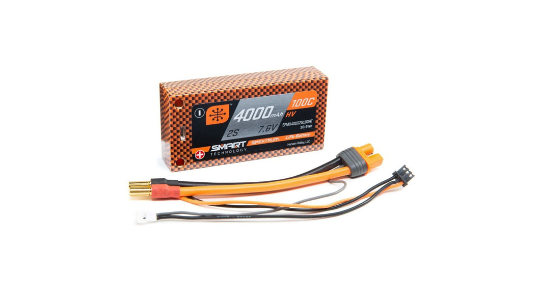 7.6V 4000mAh 2S 100C Smart Race Shorty Hardcase HV-LiPo Battery: Tubes, 5mm (SPMX40002S100HT)