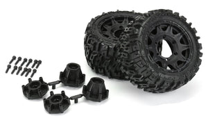 "Trencher LP 2.8"" All Terrain Tires Mounted on Raid Black Removable Hex Wheels (2) Rustler"