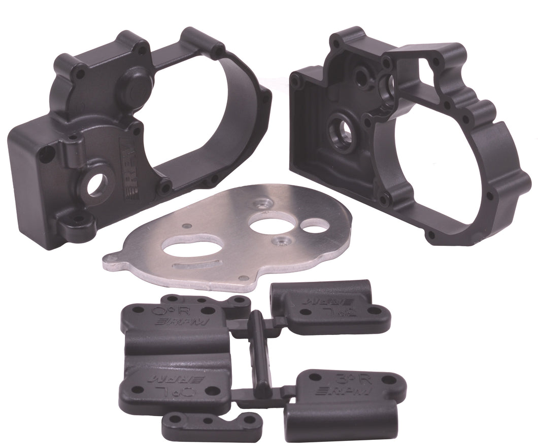 RPM73612 Black Gearbox Housing and Rear Mounts for Traxxas 2wd Vehicles