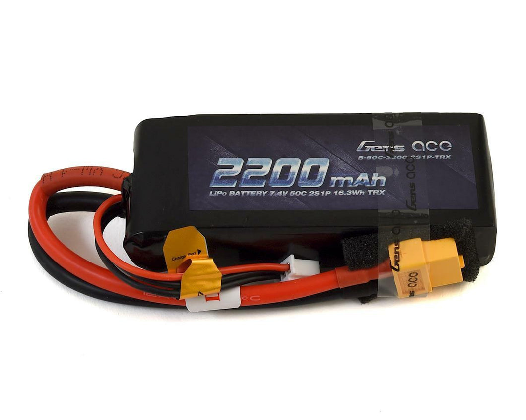Gens Ace 2S Soft 50C LiPo Battery Pack w/XT60 Connector (7.4V/2200mAh)