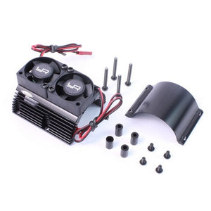 Yeah Racing 1/8 Twin Fan Aluminum Heat Sink w/2 Fans (Black)