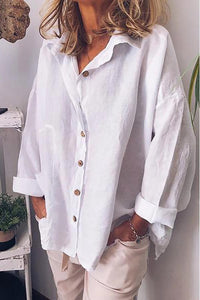 Casual Shirt Collar Long Sleeves Buttoned Blouses