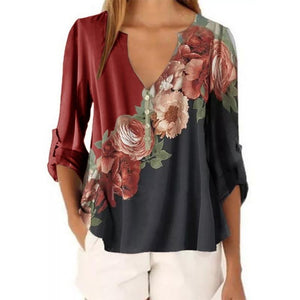 Floral V-Neck Casual H-line Blouses Long Sleeve Plus Size Shirts
