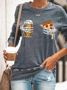 Women's Casual Halloween Skeleton Hand Beer Pizza Printed Sweatshirts