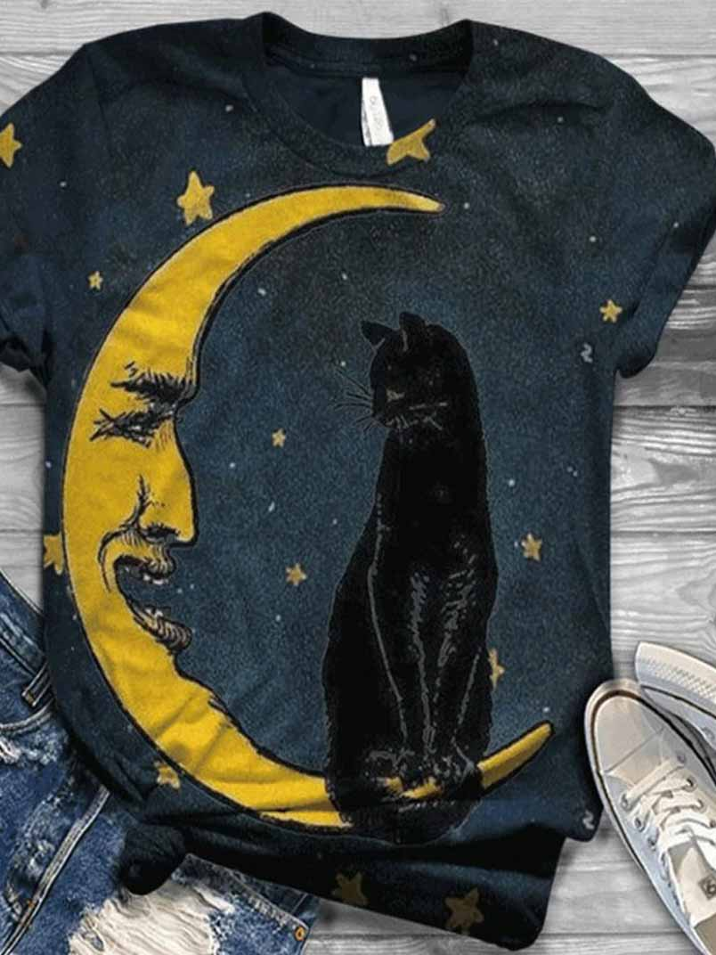 Ladies Printed Moon And Cat Casual T-shirt