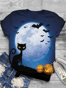 Ladies Halloween Moon Cat Pumpkin Printed Round Collar T-shirts
