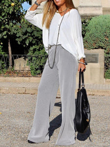 Casual Loose Shirt Pants Knitted Suit