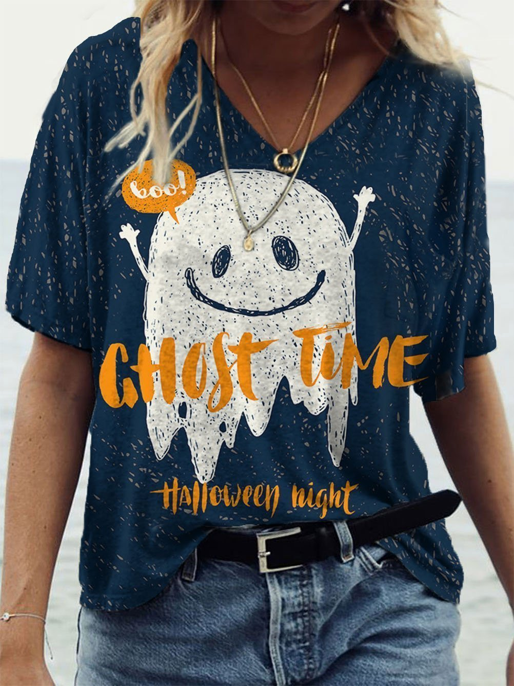 Boo GHOST TIME Halloween Night Ghost Print V-neck T-Shirt