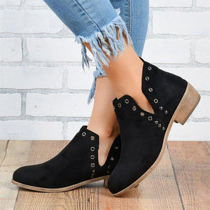 Artificial Leather Dress Rivet Boots