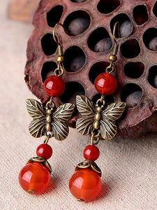 Vintage red agate butterfly earrings