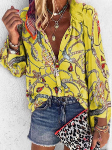 Vintage Bohemian Loose Casual Floral Shirt Top