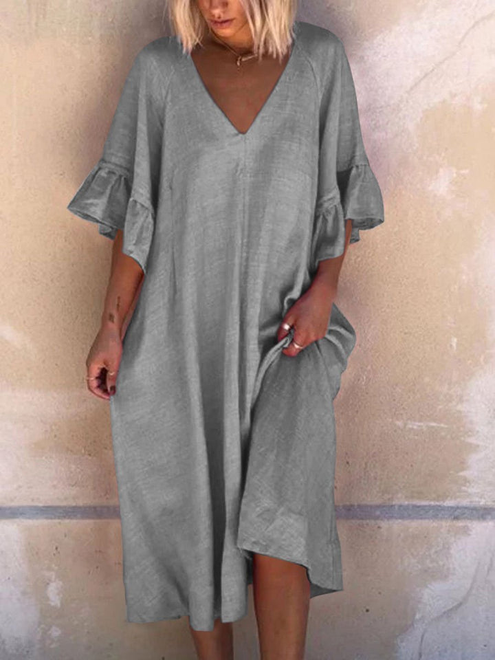 Solid Simple V Neck Linen Dresses
