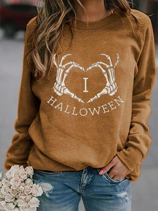 Women's Skull Hand Love Print Round Neck Sweatshirt