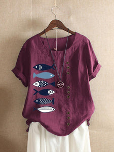 Button Cartoon Fish Print Short Sleeve Casual T-shirt