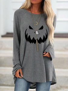 Women's Halloween Printed Long Sleeve Top