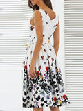 Ladies fashion butterfly print lace up sleeveless dress
