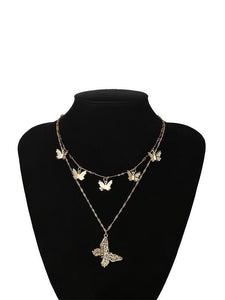 Vintage Wild Cutout Butterfly Pendant Necklace