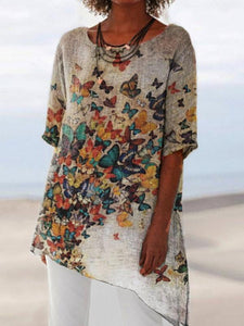 Women's butterfly printed comfortable cotton and linen long-sleeved shirt