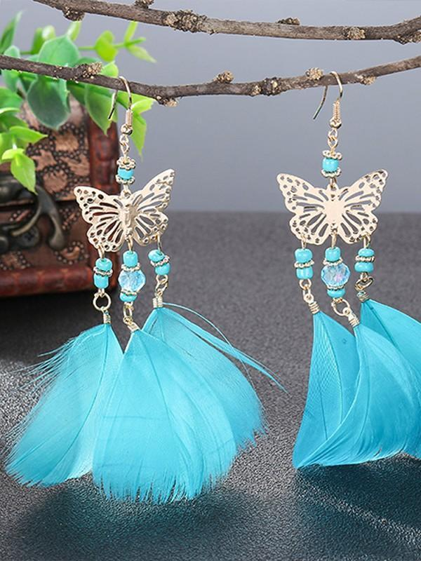 Vintage bohemian pearl beads tassel feather earrings