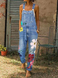 Women's Denim Floral Print Jumpsuit