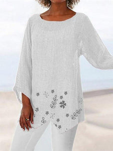 Women's Cotton And Linen Sleeve Round Neck Loose T-Shirt