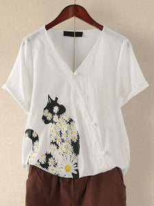 Cat daisy print button short sleeve top