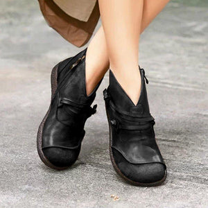 Women's Retro Flat Heel Casual Leather Boots
