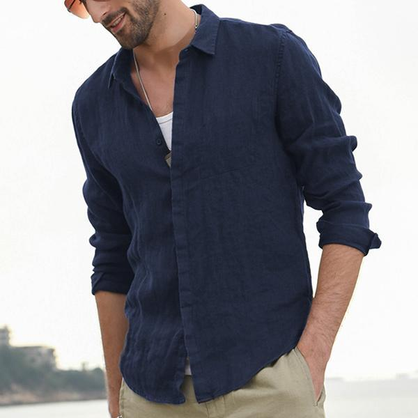 Men's Soft Breathable Linen Long Sleeve Shirt