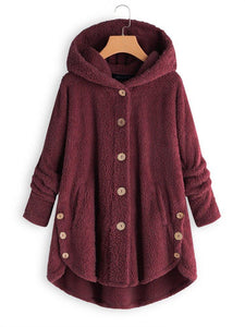 Long Sleeve Hooded Fuzzy Hem Button Teddy Bear Coat