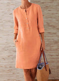Pockets Front 3/4 Sleeves Knee Length Dress